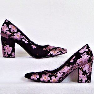 RAMPAGE size 8.5 silver, gold, black floral pumps